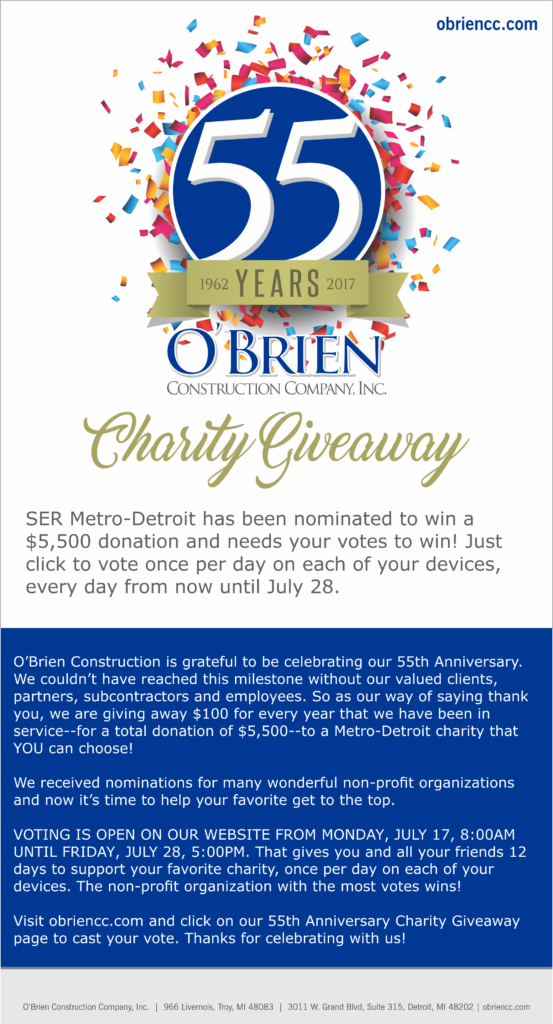 SER Metro-Detroit - Vote For Us in the O'Brien Construction 55th Anniversary Charity Giveaway