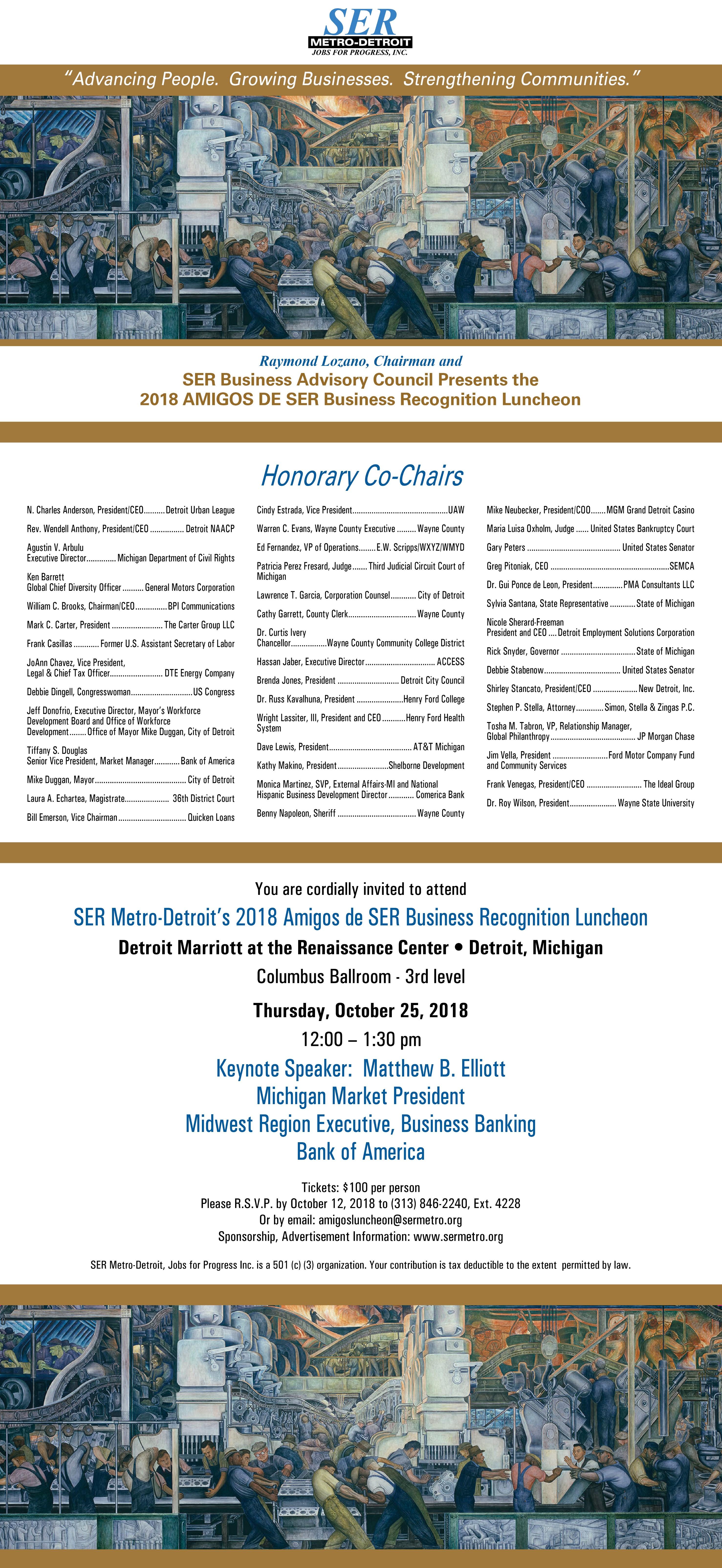 Wayne State Calendar.2018 Amigos De Ser Business Recognition Luncheon Ser Metro Detroit